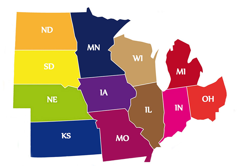 Midwest States With Nature Viewing Drives - Map of midwestern states